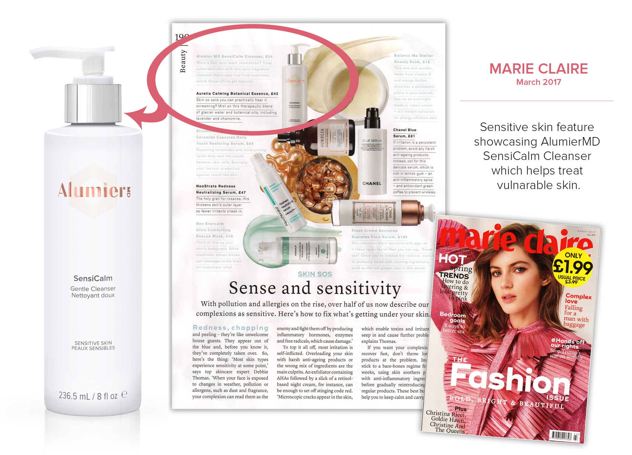 AlumierMD SensiCalm Cleanser pump bottle on magazine article page
